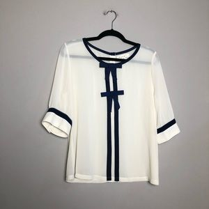 Anthropologie Comme Toi bow front blouse